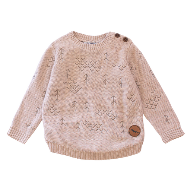 Wild Island Co Kids jumper for boys + girls, Wild Island knitted pullover, oat (1-8Y) Kids and Adults Quality Clothing Designed in Tasmania Australia 2