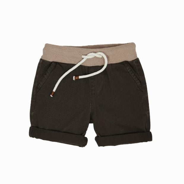 Wild Island Apparel | Sand Shaker Shorts | Cedar Brown | Built for sand dune rolling and barefoot exploring all summer long.  Featuring treasure storage pockets and elastic waist, these durable, comfortable and stylish kids shorts are available in 2 gender neutral colours, in sizes 2-8  #wildislandapparel