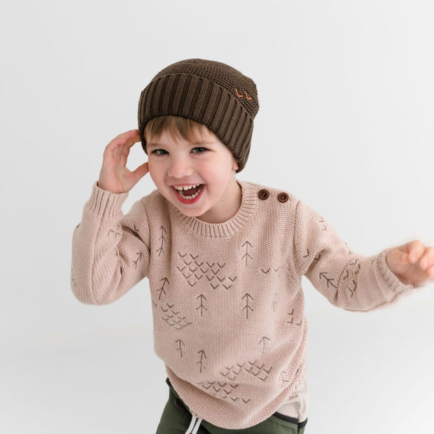 Wild Island Co Kids Beanie for boys + girls, Wild Island, cotton, Walnut Brown (2-9Y) Kids and Adults Quality Clothing Designed in Tasmania Australia 9