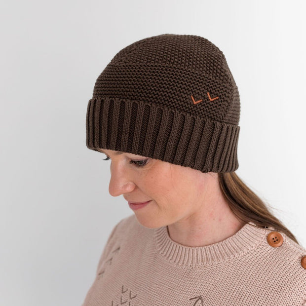 Wild Island Co Womens + Mens Beanie, 'The Summit' by Wild Island, Cotton,Walnut Brown Kids and Adults Quality Clothing Designed in Tasmania Australia 1