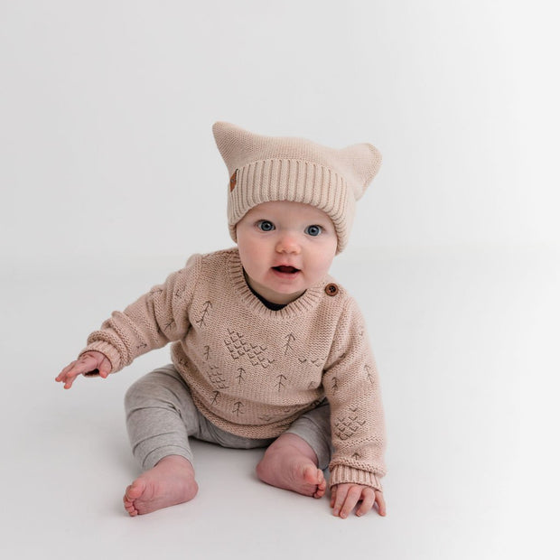 "Wild Island Co Knitted Baby Beanie ""Thylacine Beanie"" by Wild Island, beech (0-2Y) Kids and Adults Quality Clothing Designed in Tasmania Australia 5"