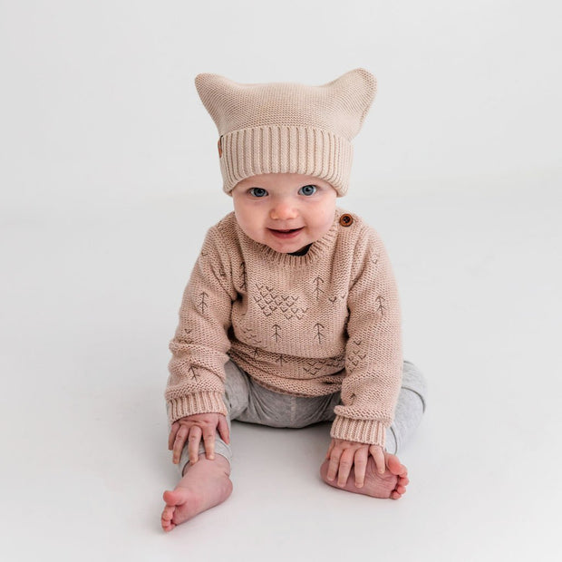 "Wild Island Co Knitted Baby Beanie ""Thylacine Beanie"" by Wild Island, beech (0-2Y) Kids and Adults Quality Clothing Designed in Tasmania Australia 1"