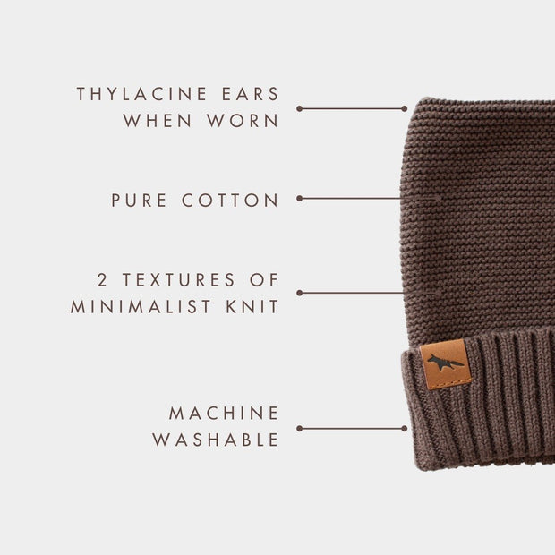 "Wild Island Co ""Thylacine"" Knitted Baby Beanie, Wild Island, walnut brown (0-2Y) Kids and Adults Quality Clothing Designed in Tasmania Australia 4"