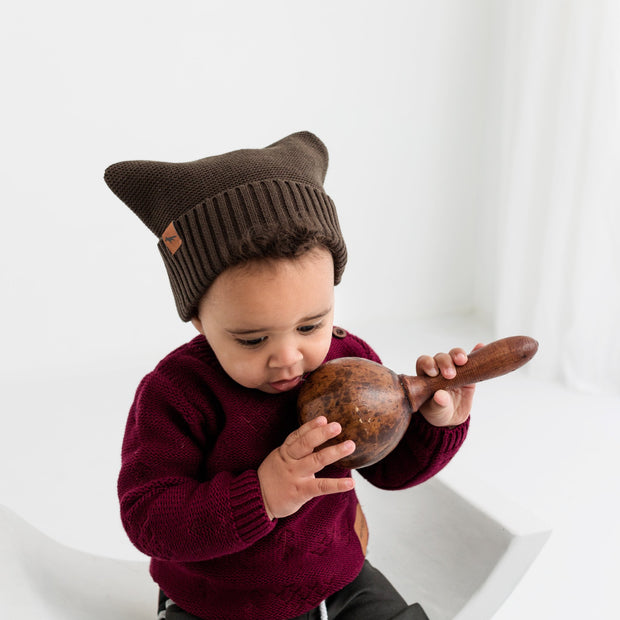 "Wild Island Co ""Thylacine"" Knitted Baby Beanie, Wild Island, walnut brown (0-2Y) Kids and Adults Quality Clothing Designed in Tasmania Australia 7"