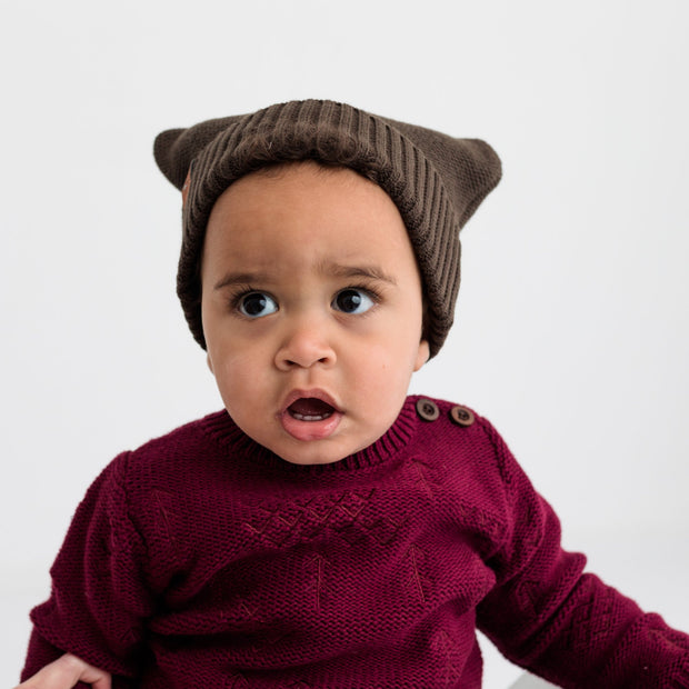 "Wild Island Co ""Thylacine"" Knitted Baby Beanie, Wild Island, walnut brown (0-2Y) Kids and Adults Quality Clothing Designed in Tasmania Australia 8"