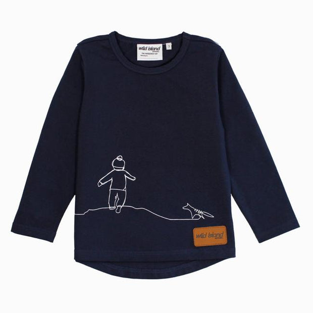 Wild Island Apparel | The Wanderer Top | Night Sky Navy | Whether you're taking the scenic way home, wandering riverbanks or roaming your own backyard, this long sleeved kids t-shirt brings out that adventurous spirit. Available in 2 unisex colours in sizes 2-6 #wildislandapparel #genderneutralkidsclothes