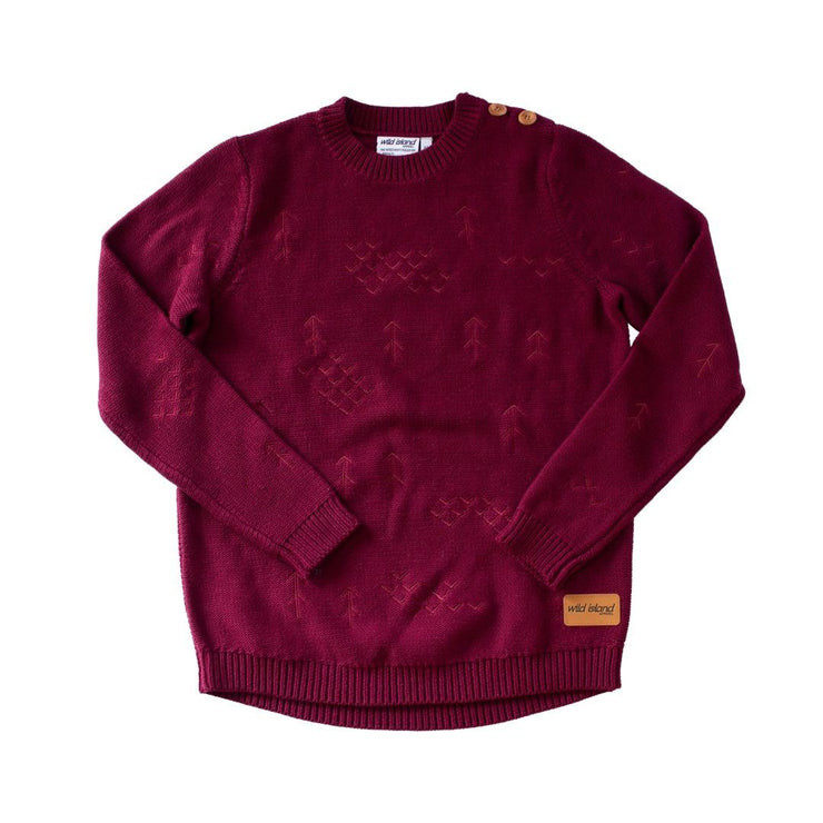 Wild Island Co Mens/Womens Jumper, cotton knitted pullover, Wild Island, Burgundy Red Kids and Adults Quality Clothing Designed in Tasmania Australia 2