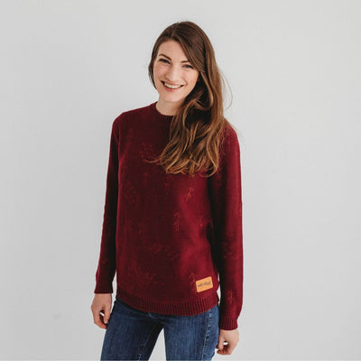 Wild Island Co Mens/Womens Jumper, cotton knitted pullover, Wild Island, Burgundy Red Kids and Adults Quality Clothing Designed in Tasmania Australia 1