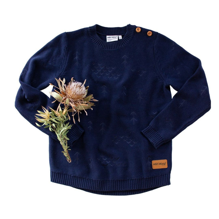 Wild Island Co Mens + Womens Jumper, cotton knitted pullover, Wild Island, Navy Blue Kids and Adults Quality Clothing Designed in Tasmania Australia 2