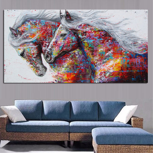 Two Running Horses Canvas Art