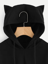 Black Cat Hoodie Crop-Top