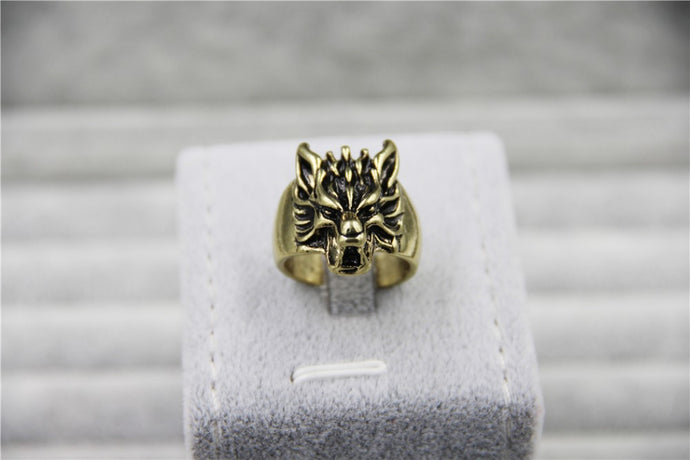 Enfado the Wolf Head Ring (Bronze & Silver)