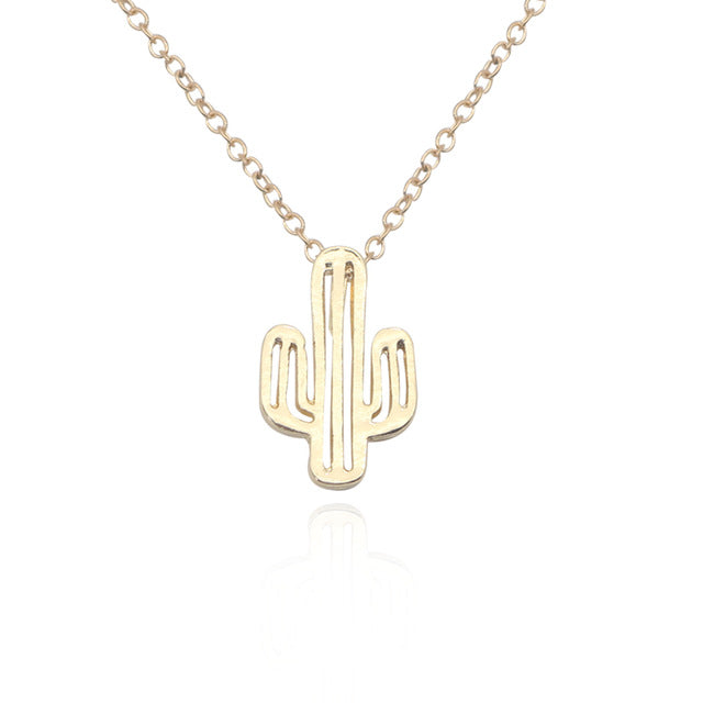 Desert Cactus Necklace (Gold & Silver)