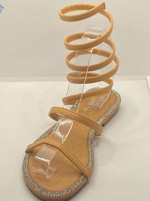 Comfy rhinestones wrap around ankle sandal