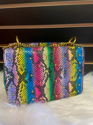 Colorful snake skin bag