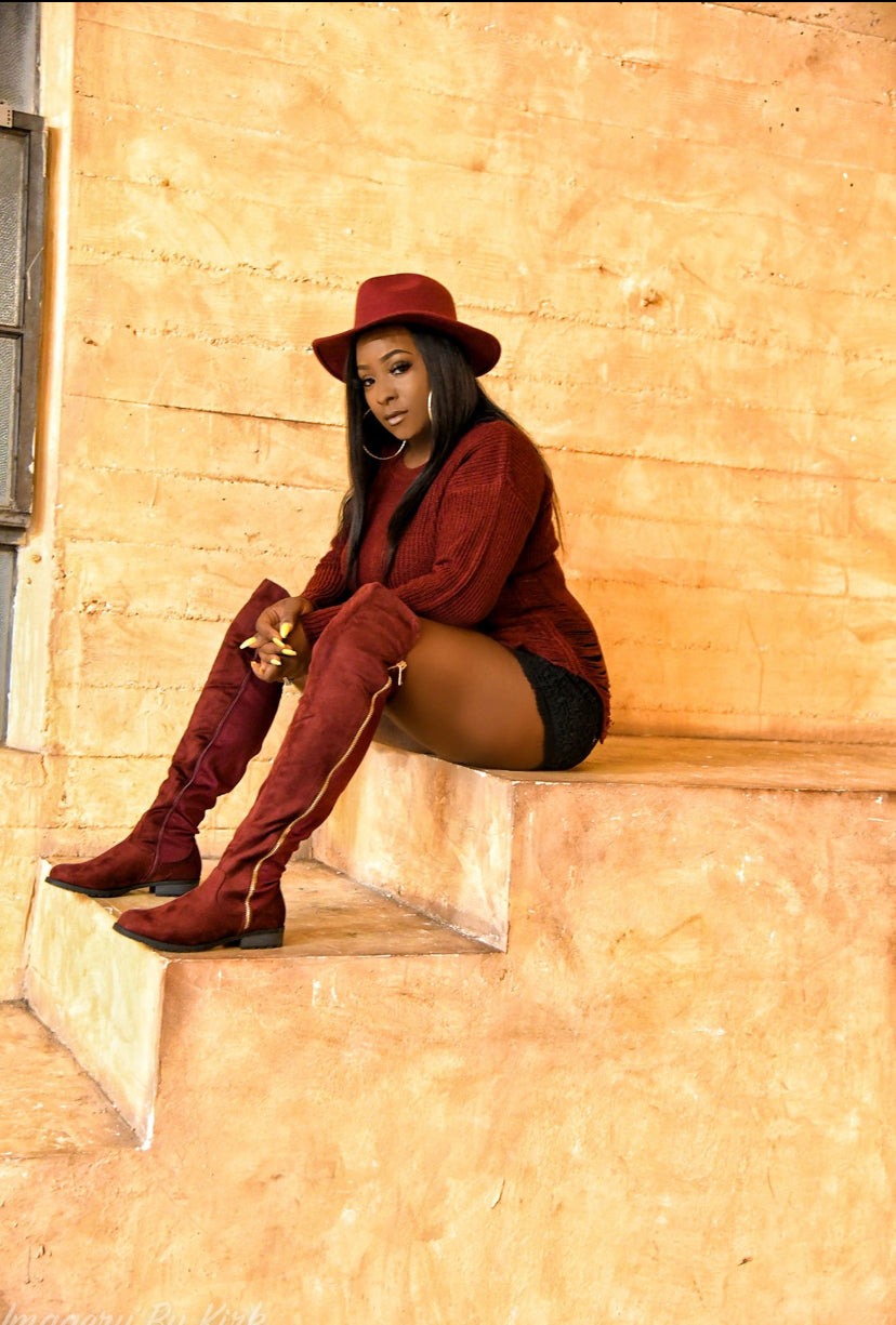 Burgundry knee high boots