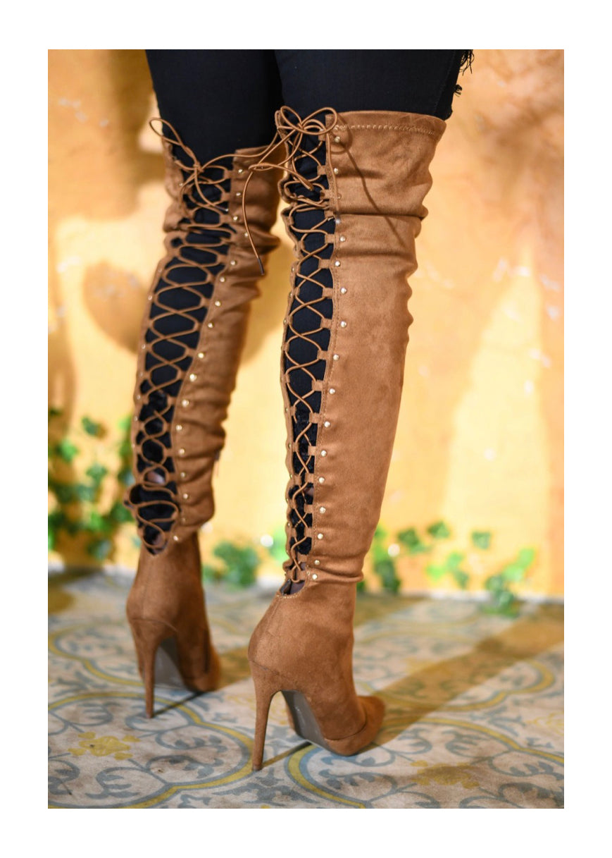 Thigh high heel boots