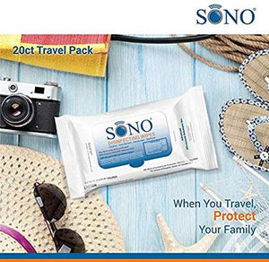 SONO Wipes Travel Size Medical Grade Disinfecting 20 Counts Wipes