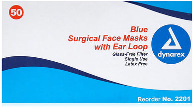 Procedure Face Masks w/ Ear Loops, Color: Blue