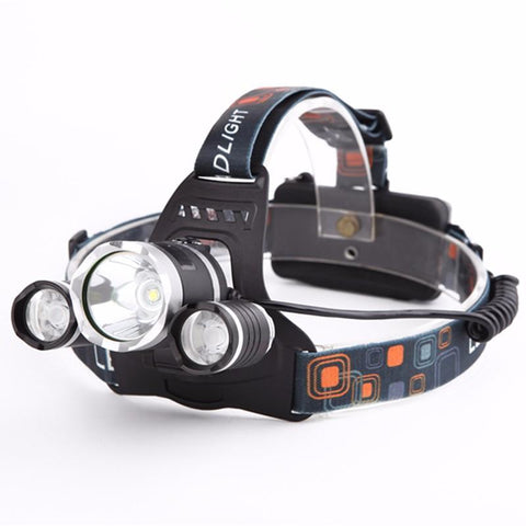 SUPER BRIGHT TRIPLE LED HEADLAMP (WATERPROOF & RECHARGEABLE)