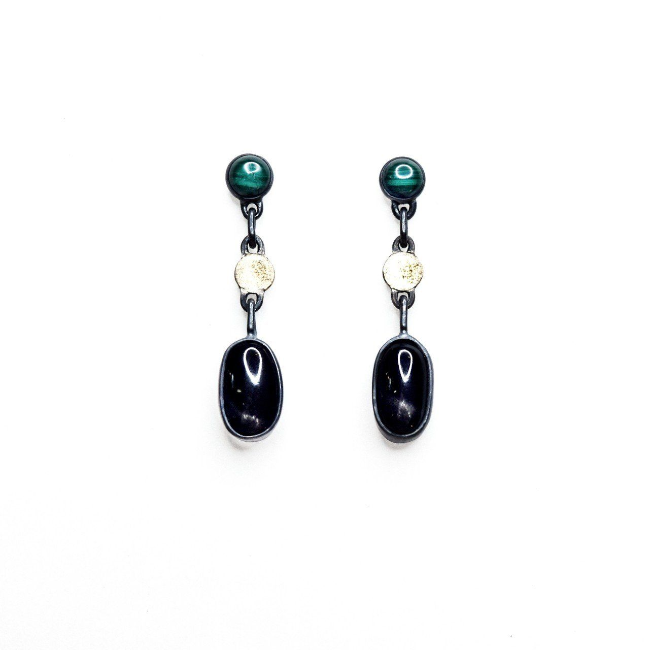 Black Diopside and Malachite Earrings