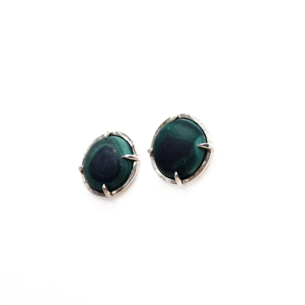 Prong Set Malachite Studs