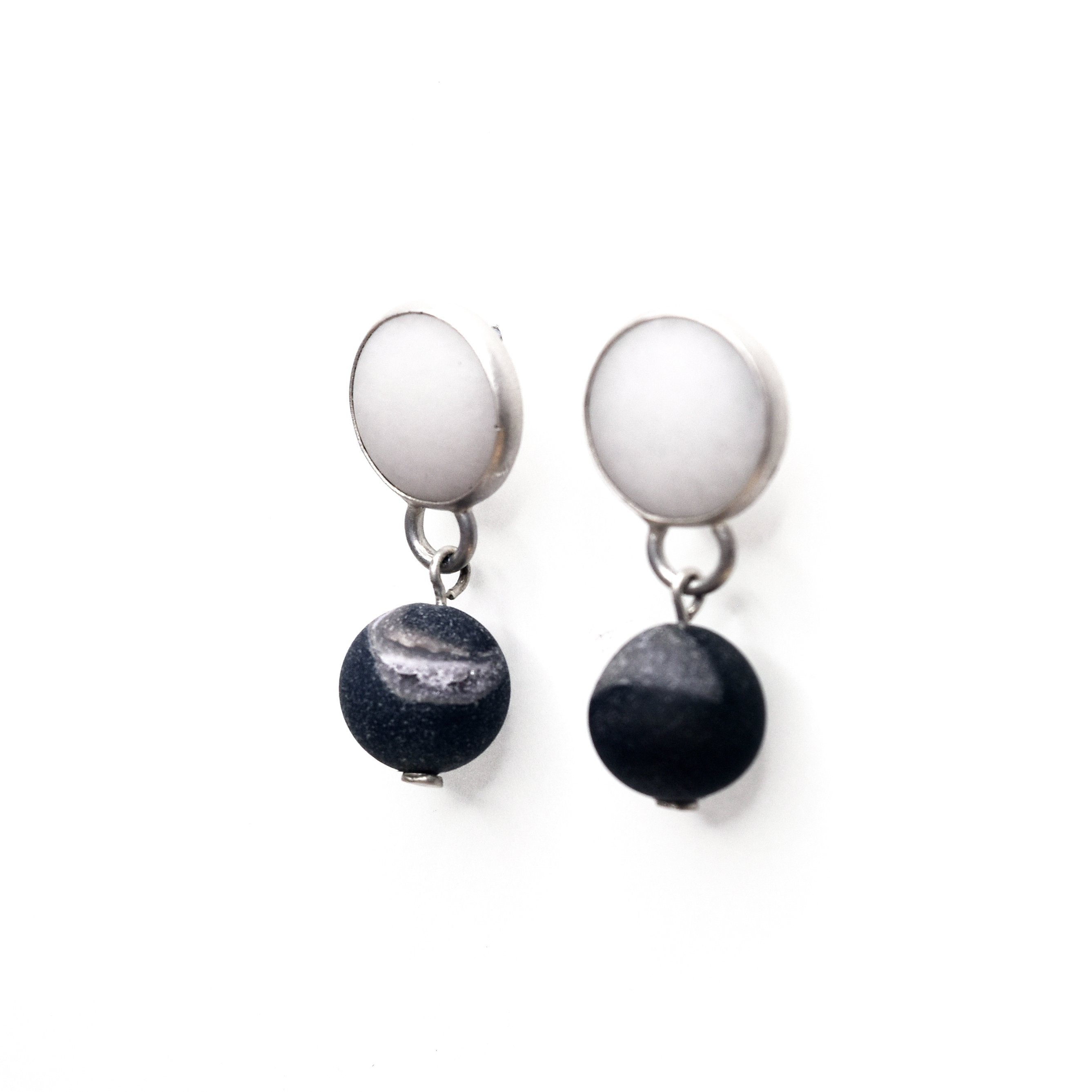 White Jade and Chalcedony Earrings