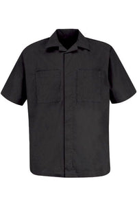 Black Men's Convertible Collar Shirt Jacket