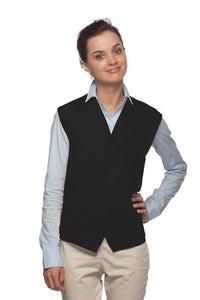 Black 4-Button Unisex Vest with 1 Pocket