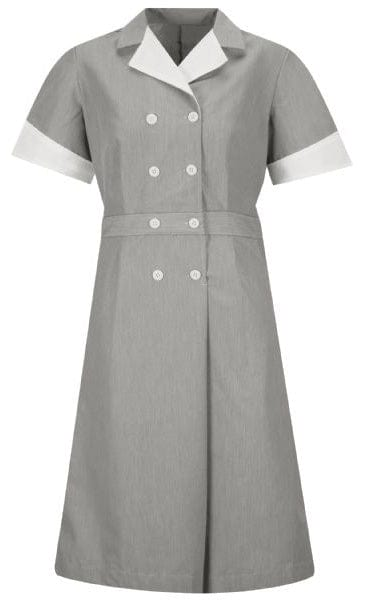 Black Pincord Double-Breasted Housekeeping Dress