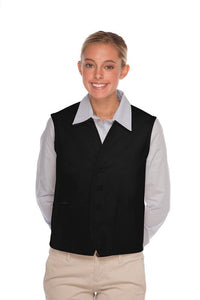 Black 4-Button Unisex Vest with 2 Pockets