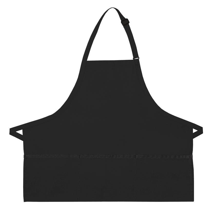 Black XL 3-Pocket Bib Apron