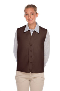 Brown 4-Button Unisex Vest with No Pockets