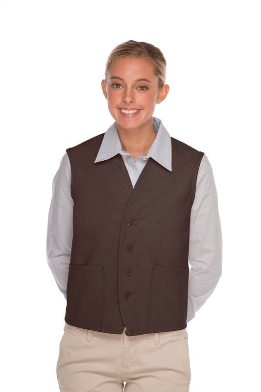 Brown 4-Button Unisex Vest with 2 Pockets