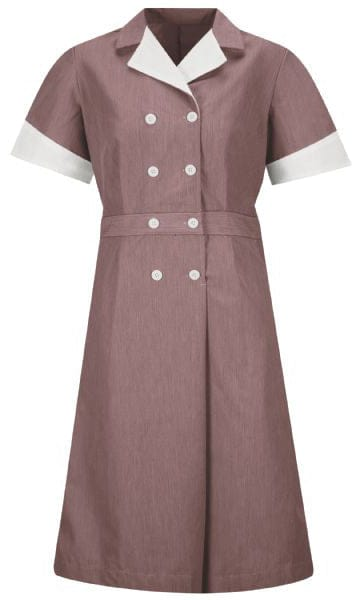 Burgundy Pincord Double-Breasted Housekeeping Dress