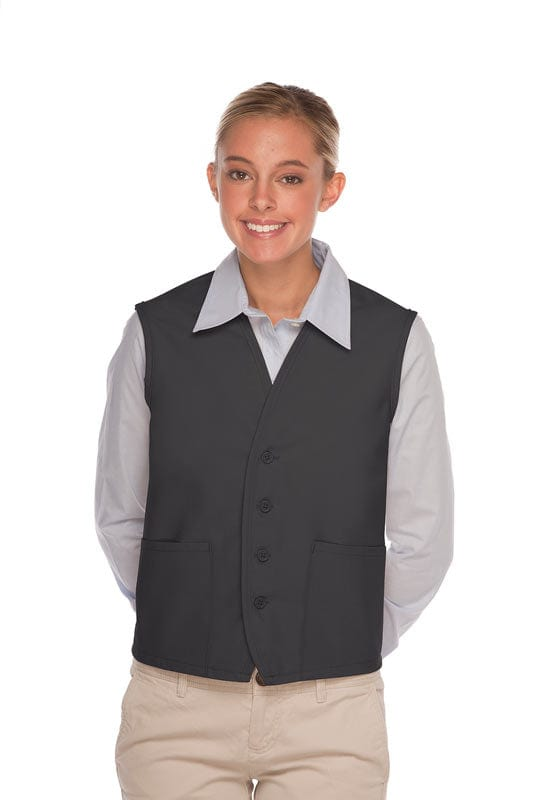Charcoal 4-Button Unisex Vest with 2 Pockets