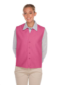 Hot Pink 4-Button Unisex Vest with No Pockets