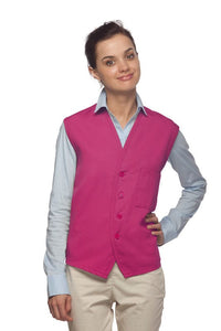 Hot Pink 4-Button Unisex Vest with 1 Pocket