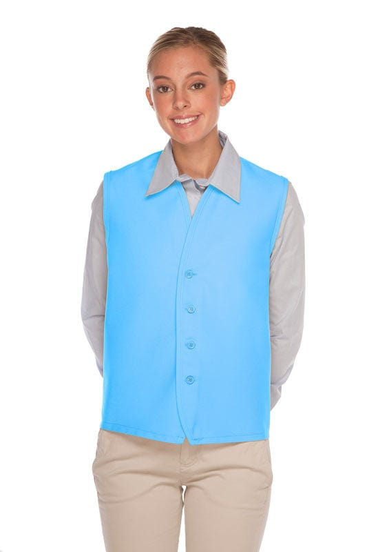 Light Blue 4-Button Unisex Vest with No Pockets