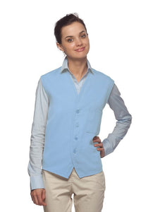 Light Blue 4-Button Unisex Vest with 1 Pocket