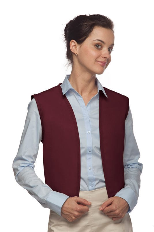 Maroon No Pocket Unisex Vest with No Buttons