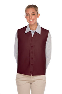 Maroon 4-Button Unisex Vest with No Pockets