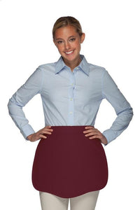 Maroon Scalloped Waist Apron