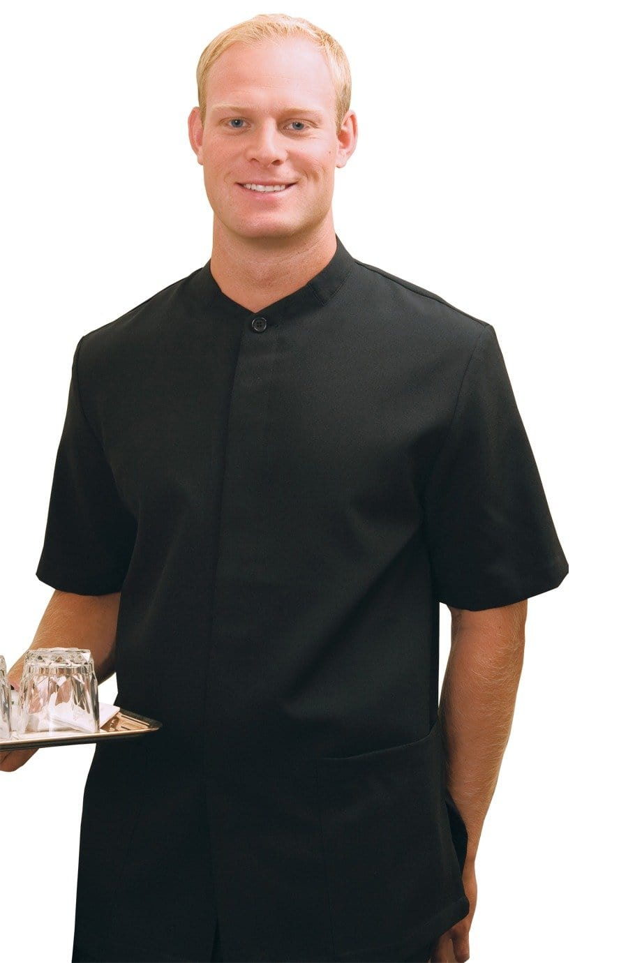 Black Mandarin Men's Housekeeping Service Shirt