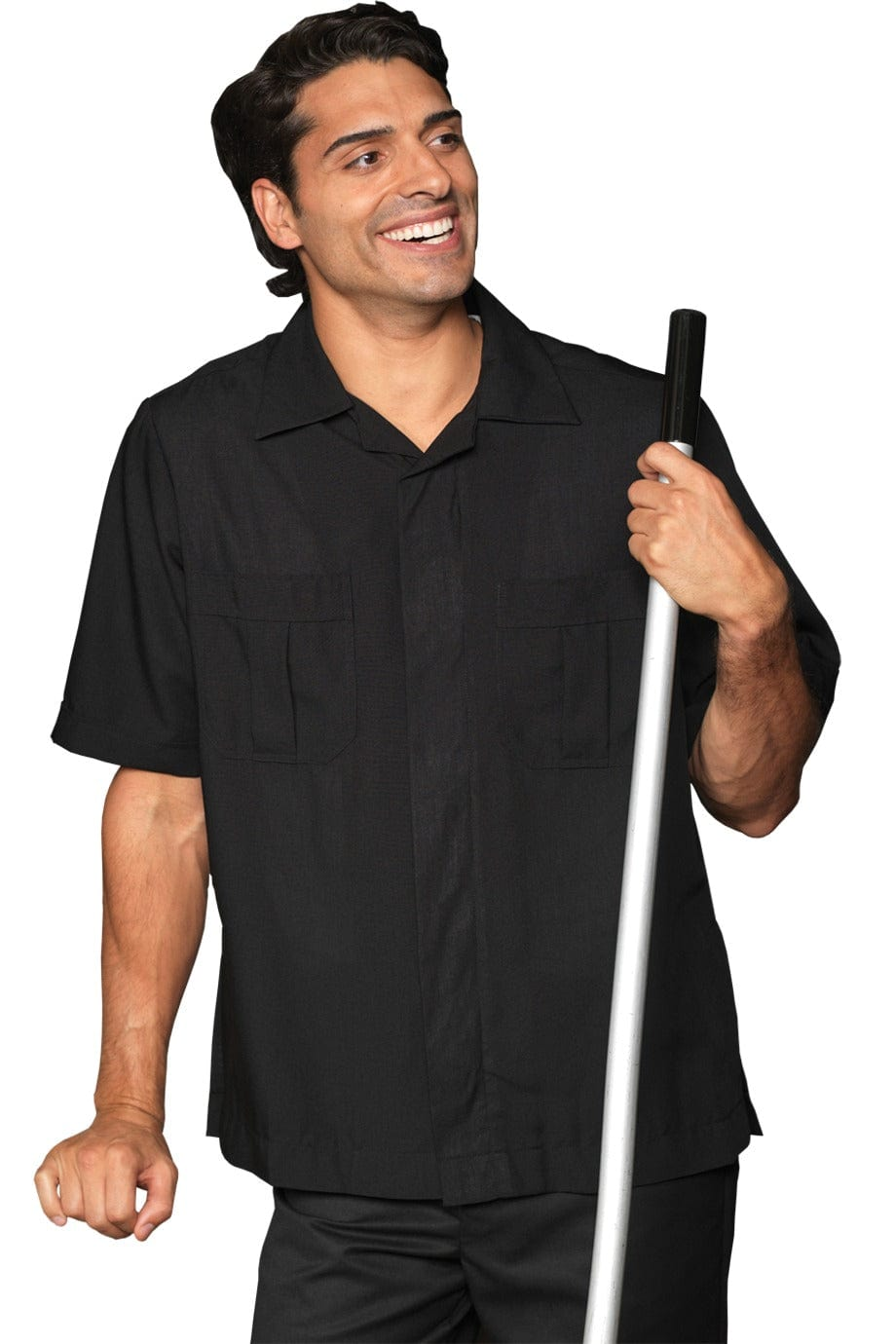Black Spun Polyester Men's Housekeeping Service Shirt