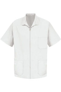 White Men's Zip-Front Smock