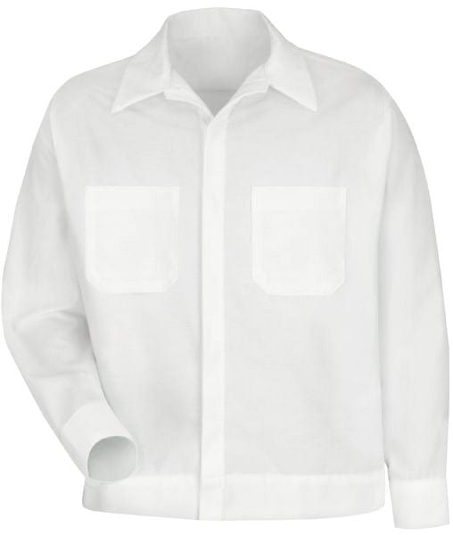 White Men's Button-Front Shirt Jacket