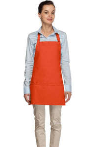 Orange 3 Pocket Bib Apron