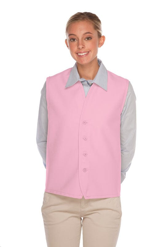 Pink 4-Button Unisex Vest with No Pockets