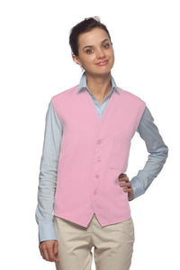 Pink 4-Button Unisex Vest with 1 Pocket